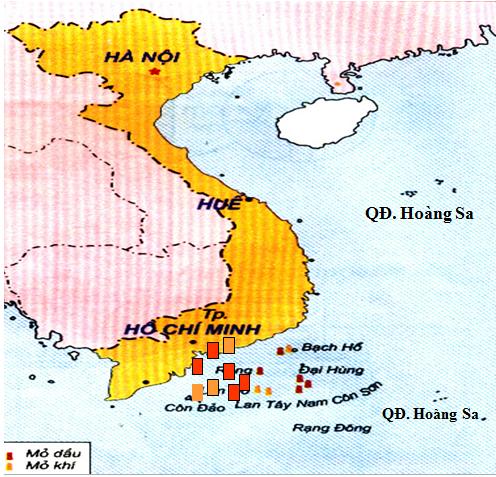 Các mỏ dầu khí ở thềm lục địa nước ta