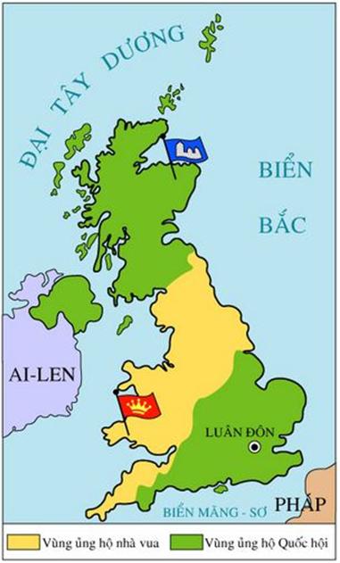 Hình 1: Lược đồ cuộc nội chiến ở Anh