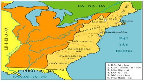 Hình 3: Lược đồ 13 nước thuộc địa của Anh ở Bắc Mĩ