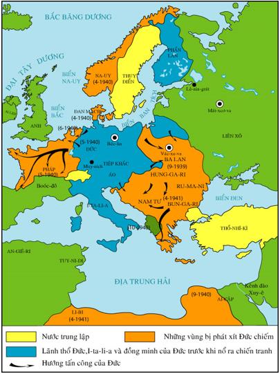 Lược đồ quân Đức đánh chiếm châu Âu