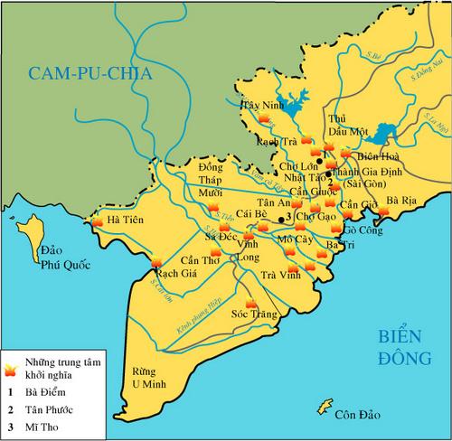 Lược đồ những địa điểm nổ ra khởi nghĩa ở Nam Kì