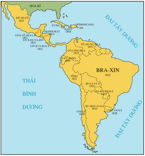 Hình 3: Lược đồ khu vực Mĩ La-tinh đầu thế kỉ XIX