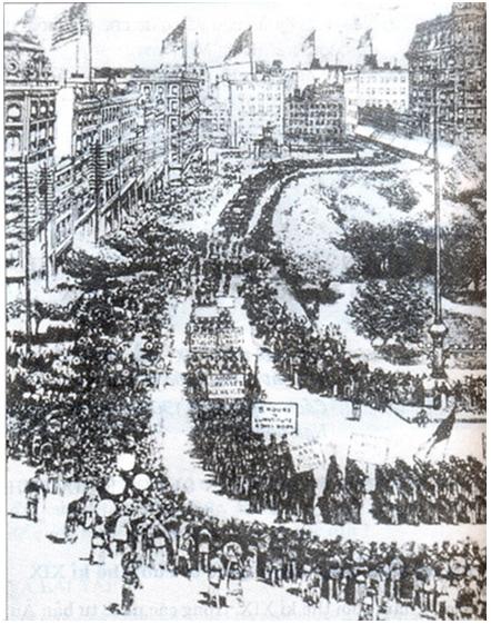 Hình 1: Cuộc biểu tình của công nhân Niu OOc năm 1882