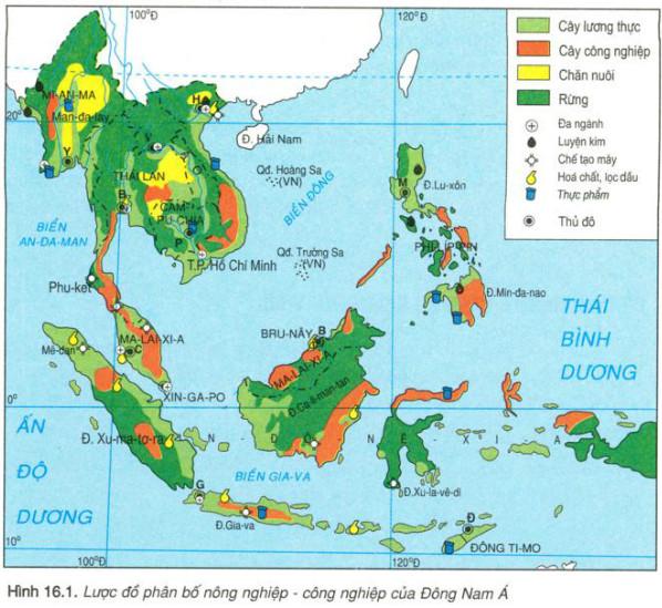 Lược đồ phân bố nông nghiệp- công nghiệp của Đông Nam Á