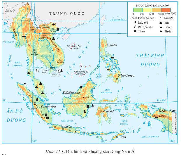 Lược đồ địa hình và khoang sản Đông Nam Á