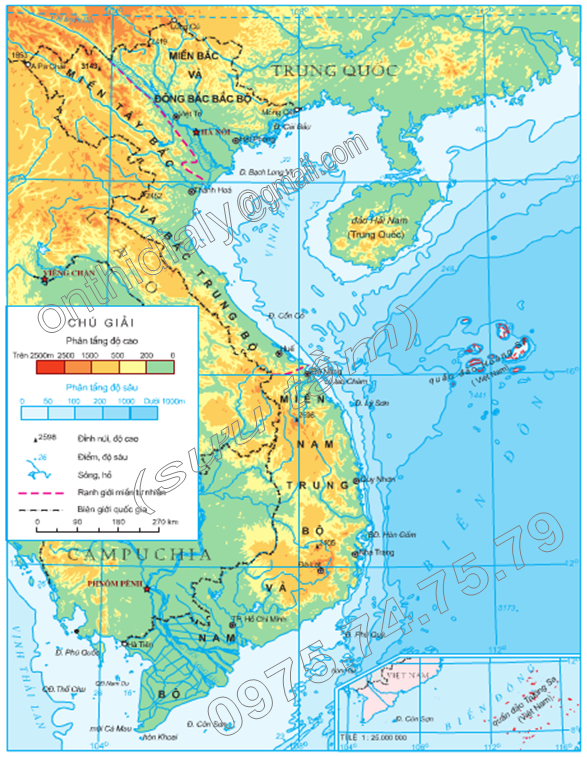 Lược đồ địa hình Việt Nam