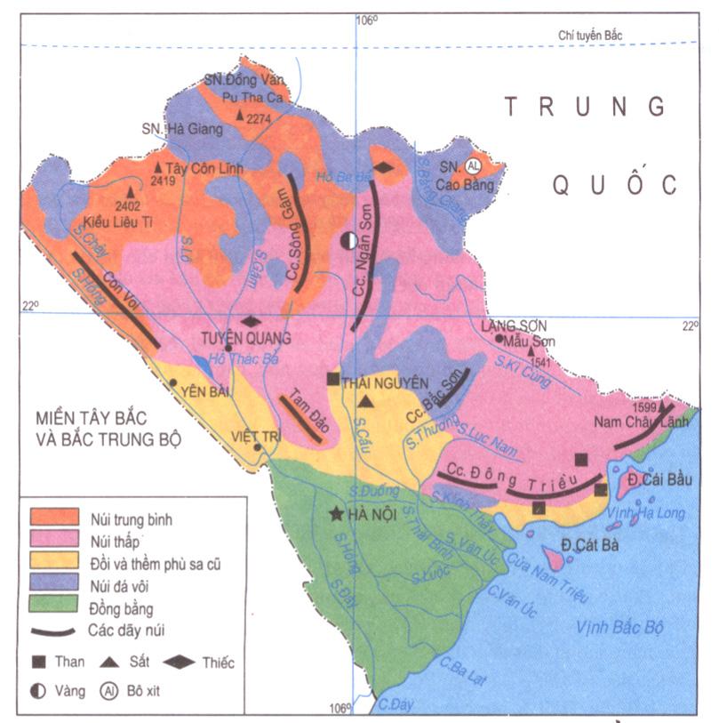 Lược đồ địa hình và khoáng sản miền Tây Bắc và Bắc Trung Bộ