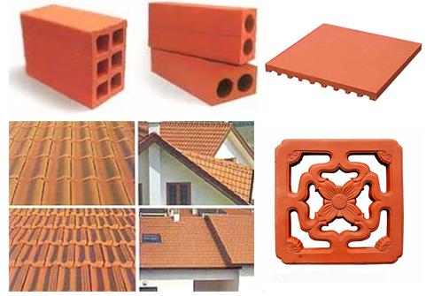 Hình 2: Một số sản phẩm từ đất sét như Gạch viên, Ngói, Gạch nền, thông gió