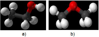 Hình 1: Công thức cấu tạo của ancol etylic (a) và đimetyl ete (b)