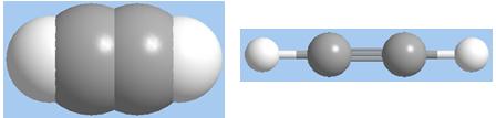 Hình 1: Mô hình phân tử axetilen dạng đặc và dạng rỗng