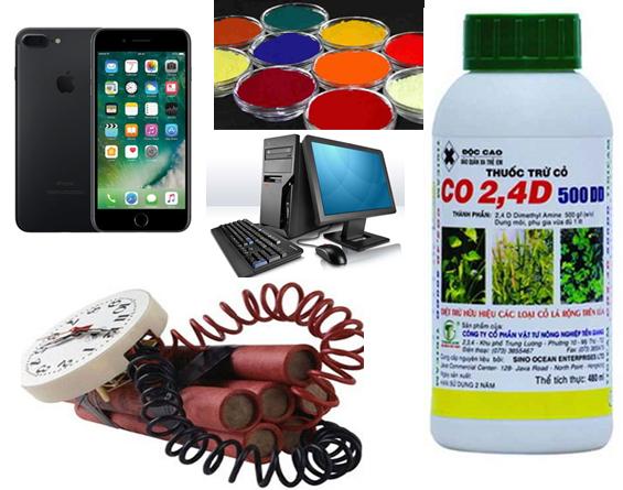 Hình 2: Ứng dụng Phenol làm chất dẻo, thuốc nhuộm, thuốc nổ TNT, Thuốc trừ cỏ 2,4-D