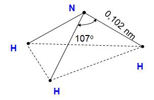 Hình 1: Sơ đồ cấu tạo của phân tử NH3