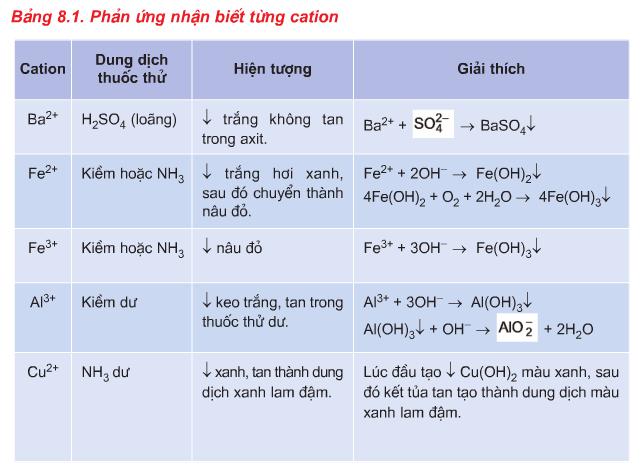 Phản ứng nhận biết từng cation