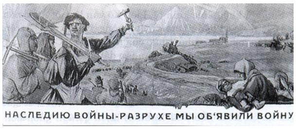 """Hình 1: Áp phích năm 1921 """"Chúng ta tuyên chiến với hậu quả của chiến tranh"""""""