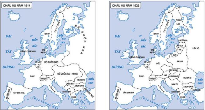Hình 2: Sự thay đổi bản đồ chính trị châu Âu theo hệ thống Vécxai - Oasinhtơn