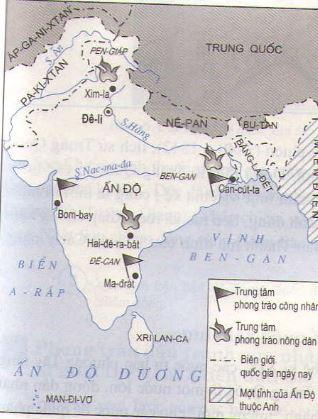 Hình 3: Lược đồ phong trào cách mạng ở Ấn Độ cuối thế kỉ XIX- đầu thế kỉ XX