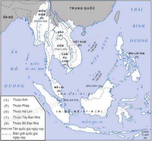 Hình 1: Lược đồ Đông Nam Á cuối thế kỉ XIX- đầu thế kỉ XX