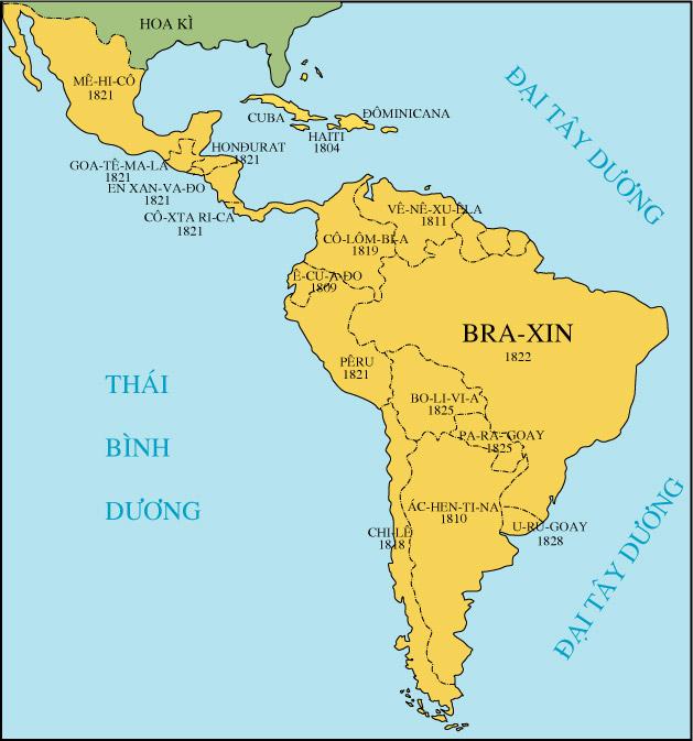 Hình 2: Lược đồ khu vực Mĩ Latinh đầu thế kỉ XIX