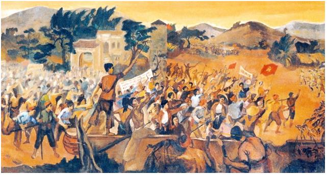 Hình 2: Đấu tranh trong phong trào Xô viết Nghệ - Tĩnh (tranh sơn dầu)