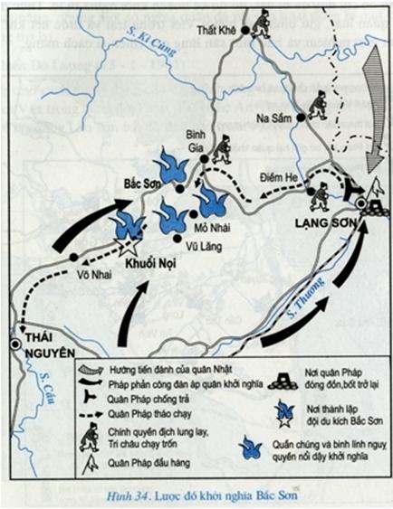 Hình 2: Lược đồ khởi nghĩa Bắc Sơn