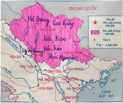 Hình 8: Lược đồ Khu giải phóng Việt Bắc