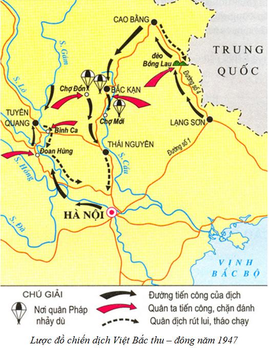 Hình 4: Lược đồ chiến dịch Việt Bắc thu – đông năm 1947