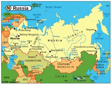 Hình 3: Bản đồ Liên Bang Nga