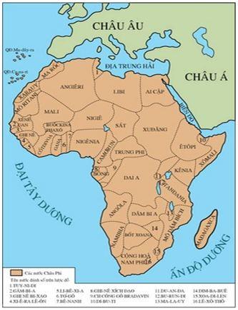Hình 1: Lược đồ các nước châu Phi sau Chiến tranh thế giới thứ hai