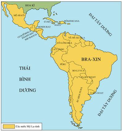 Hình 2: Lược đồ các nước Mĩ Latinh sau chiến tranh thế giới thứ hai