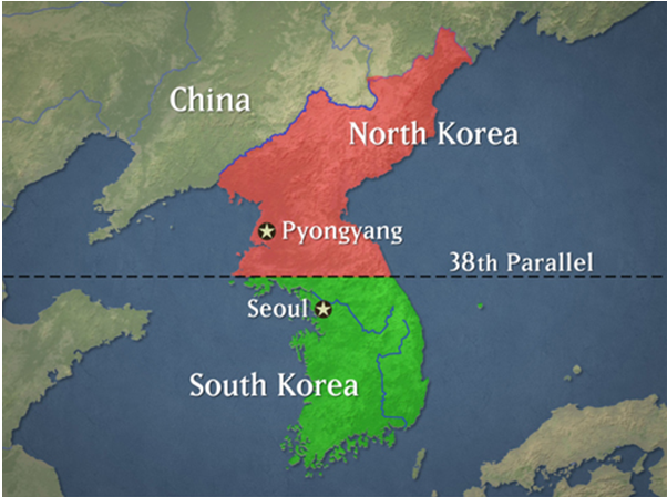 Hình 3: Hai miền của bán đảo Triều Tiên
