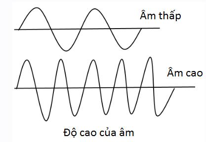 Đồ thị dao động của âm có tần số thấp (âm trầm) và tần số âm cao