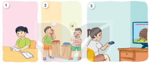 Tìm từ ngữ chỉ hoạt động của mỗi bạn trong tranh. Nói tiếp để hoàn thành câu nêu công dụng của đồ vật. Viết 4-5 câu mô tả đồ dùng trong gia đình em