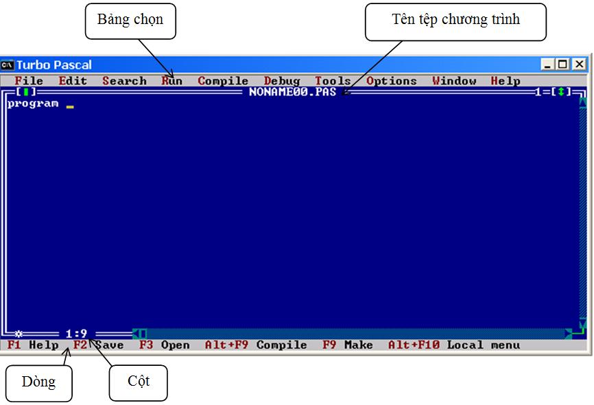 Hình 1. Màn hình làm việc của Turbo Pascal