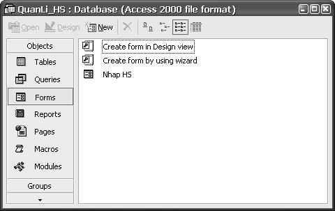 Hình 1. Cửa sổ CSDL QuanLi_HS với trang biểu mẫu