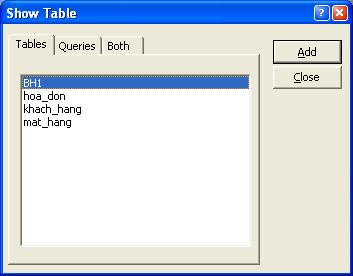 Hình 2. Hộp thoại Show Table