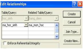 Hình 2. Tạo mối liên kết giữa bảng bang_diem và hoc_sinh