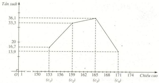 Biểu đề đường gấp khúc tần suất về chiều cao của 36 học sinh