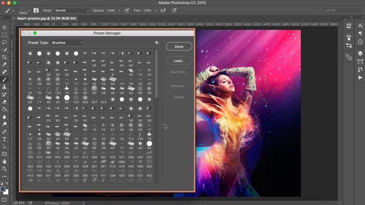Giảm số lượng pattern và brush trong photoshop