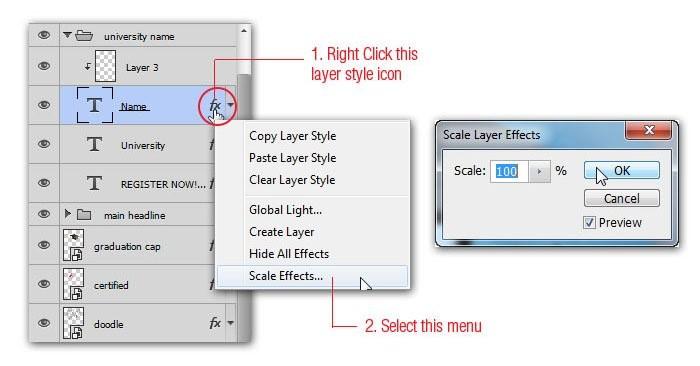 Cách để phóng to Layer Style hiệu ứng