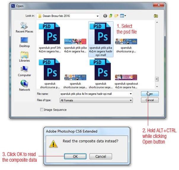 Cách để mở một file chứa nhiều layer như một Flatten Image
