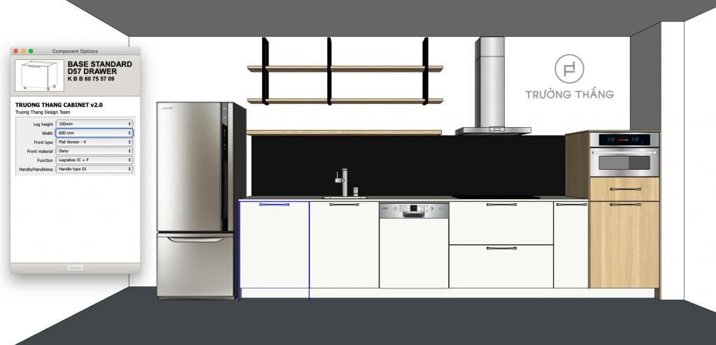 Mô hình component tủ bếp  giúp rút ngắn thời gian hoàn thiện bản vẽ cho khách hàng