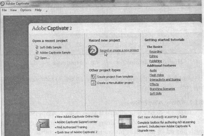 Giao diện ban đầu (start page) của Macromedia Captivate