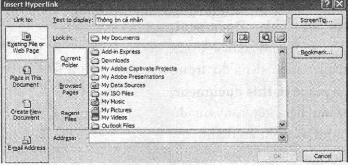 Cửa sổ Insert Hyperlink