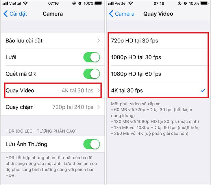 Thay đổi chất lượng quay video