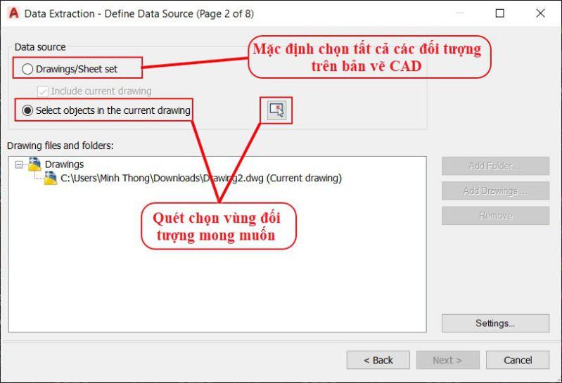 Sử dụng lệnh Data Extraction trong bóc tách khối lượng