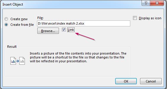 Chọn link Excel muốn liên kết