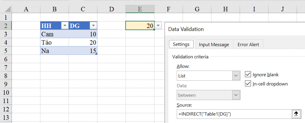 Mục Data Validation List