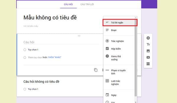 Các loại đáp án của Google Form