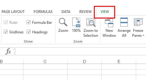 Ẩn hiện đường lưới trong Excel