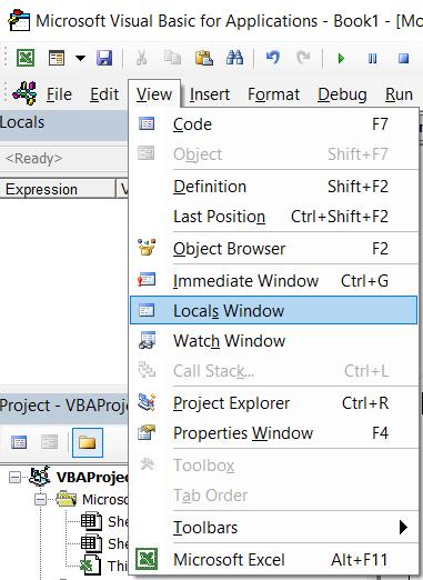 Mở cửa sổ Locals trong VBA